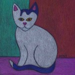 White and Gray Cat Drawing-BZTAT